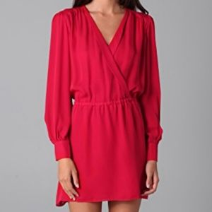 Faux Wrap Dress in Red
